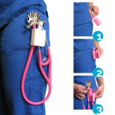 Perfect alternative to wearing your stethoscope around your neck! Works great with all brands of stethoscope! Available at: http://nurseborn.com/product/nurse-born-stethoscope-holder
