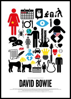 Pictogram rock posters by Viktor Hertz  DAVID BOWIE    If you like them, please make a pledge over here:  http://www.fundedbyme.com/projects/2012/06/pictogram-rock-posters/