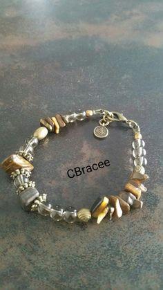 Tiger Eye chips&Black Diamond glass&Brass