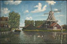 R. Jong - Schilderij. Gezicht op oliemolen De Ooster te Sneek, verv.jaar: 1900-1925