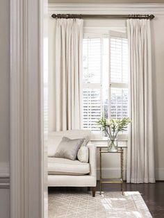 I love this room! // This rug // Combining plantation shutters with curtains privacy cosiness warmth Curtains With Plantation Shutters, Window Shutters, Curtains With Blinds, White Curtains, Tall Curtains, Blinds Diy, Patio Blinds, Layered Curtains, Windows