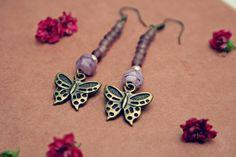 mabel. beaded butterfly earrings