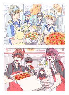 I'd probably go to Samezuka's because they seem more in and layback ✧・゚: *✧・゚:*    *:・゚✧*:・゚✧ Anime: Free! Momotarou Mikoshiba, Makoharu, Otaku, Anime Manga, Anime Guys, Vocaloid, Rin Matsuoka, Haruka Nanase, Yamazaki Sousuke