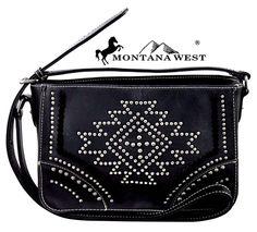 Montana West~Black Aztec Southwestern Design Messenger Shoulder Bag~Studs~Purse #MontanaWest #MessengerShoulderBag