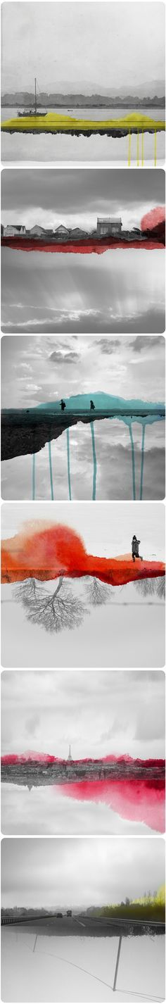 This is a great series! Notice that each frame is comprised of more than one photo and perspective. The accents of color look great and create abstraction from photography.