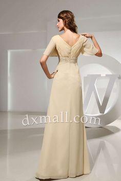 Empire Wedding Guest Dresses V-neck Floor Length Chiffon Champangne 130010300016
