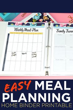 Home Binder, Home Planner, Easy Meal Plans, School Schedule, Recipe Organization, Love Your Home, Meals For The Week, Meal Planning, Free Printables
