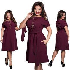 Женщины сплошной цвет короткие мини-случайные плюс размер платья с поясом – купить по низким ценам в интернет-магазине Joom