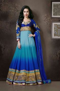 Splendid Shraddha Kapoor Georgette Blue,Light Blue Anarkali Suit