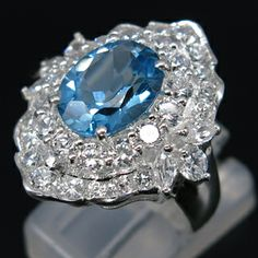NATURAL 4.60 CT. SWISS BLUE TOPAZ & WHITE SAPPHIRE Sterling Silver Ring with 14kt White Gold Overlay