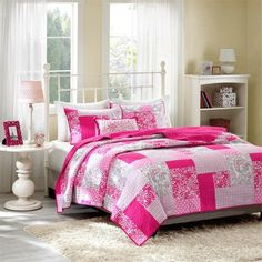 Mi-Zone Coverlet Girls Bedroom Bed Set Pink Polka Dots Paisley Floral Plaid Teen Bedding Full/queen or Twin Xl. Update Your Bedroom Instantly (Twin/twin Xl) Coverlet Bedding, Teen Bedding, Pink Bedding, Bedding Sets, Luxury Bedding, Paisley Bedding, Modern Bedding, Pillow Shams, Pillow Covers