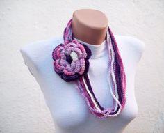 Removeable Brooch Pin  Hand  infinity scarf crochet  by scarfnurlu