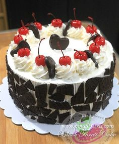 Black Forest Cake is a well-loved and a very popular cake here in the Philippines and Abroad.  This cake is originally made up of 3 chocolate cake layers, each layer is moistened with cherry brandy, filled with cherry filling, covered with generous whipped cream, garnished with delicious chocolate shavings and top with maraschino cherries.