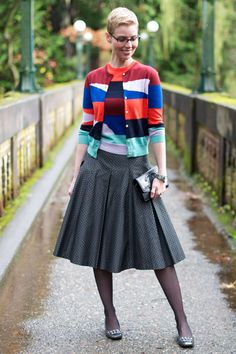 I kind of ODed on twinsets in the 90's, but this one is cute.  I like the 50's vibe with the flared skirt.