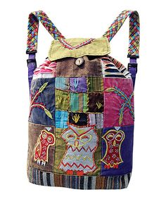 Love this Brown & Green Owl Patchwork Backpack by Rising International on #zulily! #zulilyfinds
