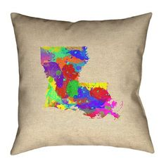 """Ivy Bronx Austrinus Louisiana Cotton Throw Pillow Size: 20"""" x 20"""", Fill Material: Poly Twill, Color: Pink/Blue/Green"""