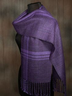 Purple Scarves, Woven Scarves, Signature Design, Wool Scarf, Yarn Colors, Yarn Crafts, Merino Wool, Hand Weaving, Vintage Ladies