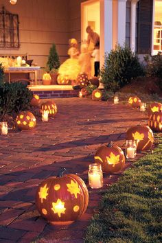 Cookie-Cutter Pumpkins - 33 Halloween Pumpkin Carving Ideas - Southernliving. These cookie-cutter pumpkins are anything but run-of-the-mill. They take no time to make and will add a gorgeous glow to your porch or walk. Start by selecting a theme, such as leaves, ghosts, or spiders. Because pumpkins are pretty tough cookies, look for durable cutters made of thick stainless steel. Smaller ones work best, as larger designs tend to lose their shape more easily. Preparing the pumpkins is easy as…