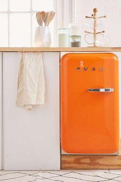 Urban Outfitters Smeg Fridge Orange