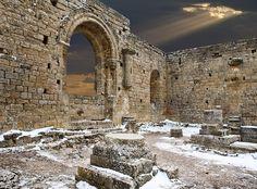 Beautiful, almost biblical image. Loarre, Aragon, Spain