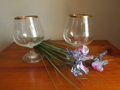 Vintage Brandy Glasses.Gold Trimmed Drinking by SeptemberButterfly, $18.00
