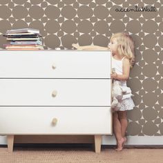 Dot Warm Grey Peel & Stick Fabric Wallpaper by AccentuWall on Etsy Wallpaper For Sale, Grey Wallpaper, Wallpaper Samples, Fabric Wallpaper, Cleaning Walls, Nursery Room Decor, Warm Grey, Traditional Wallpaper, Simple Shapes