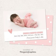 Birth announcement card. Personalized baby girl by PenguinGraphics