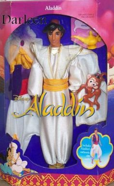 "Disney Classics Aladdin Doll by Mattel. $64.95. Also included is Aladdin's authentic city outfit!. Aladdan is 12"" tall. Aladdan comes dressed in the white prince clothing.. Abu the monkey (plastic) can hang on to Aladdins arms. Aladdin's Magic Lamp is also included (plastic). Aladdin tries to win the love of Princess Jasmine by pretending to pe a prince. It is only when he reveals his friendly, open personality, that he wins Jasmine's heart. Children love to re-create ..."