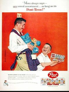 """1957 Post Variety Pack Cereals original vintage advertisement. Including Post Grape Nuts, Toasties, Bran Flakes, Sugar Crisp and more! Featuring Fiesta® Dinnerware. """"Father And Son Approach The Breakfast Table"""" Artist: Dick Sargent 