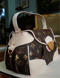"Amazing ""Designer Bag"" cake featuring a favorite bag by Louis Vuitton."