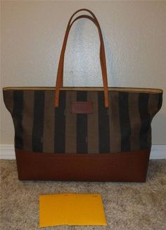 FENDI Tobacco and Brown Stripe Canvas and Leather tote bag MUST SEE #Fendi #Tote