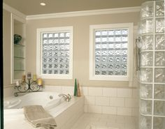Bring light to your bathroom walls with glass block from Pittsburgh Corning. Glass block, Pittsburgh Corning glass block, glass block walls, glass block showers, glass block windows, acrylic glass block, glass block from Randolph-Bundy, Inc.
