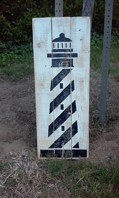 Lighthouse nautical theme decor nautical by Nautical Signs, Nautical Nursery Decor, Nautical Home, Coastal Decor, Vintage Nautical, Coastal Homes, Wood Pallet Art, Pallet Painting, Painting On Wood