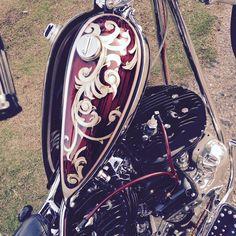 Split peanut tank Flathead Harley chopper from David Mann Chopper Fest.  killscumspeedcult.com TAGS; peanut, tank, gas, cap, metal flake, chrome, exhaust, hot rod, rat rod, muscle, car, auto, moto, motorcycle, bobber, triumph, honda, yamaha, sx, cb, xlh, sportster, nightster, dyna, roadking, bagger, rigid, glide,