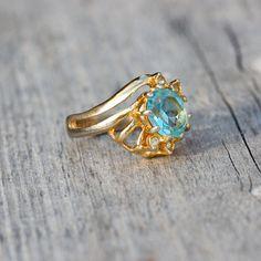 Vintage 14KT GE Blue Stone ESPO ring by TwiceBakedVintage on Etsy, $25.00