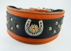 Orange Studded Adjustable leather martingale by LongDogLeather