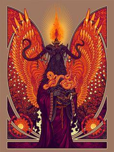 """Order of the Seven Serpents"" Art Print by Florian Bertmer . 18″ x 24″ screenprint, has an edition of 100"