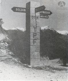 Señalizador YPF-DPN, Indicador de caminos, RN 40 Sur, Acceso a los Rápidos (Anales Dirección de Parques Nacionales, Año 1945)