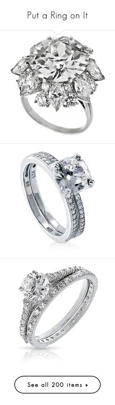 """""""Put a Ring on It"""" by mrseclipse ❤ liked on Polyvore featuring jewelry, rings, accessories, joias, platinum jewelry, platinum diamond rings, diamond jewelry, platinum rings, bulgari jewelry and 2 piece ring set"""