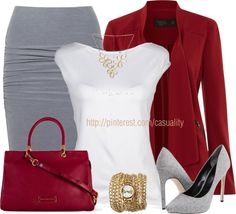 CLWO: Cherry red, white and grey work outfit combination Fashion Mode, Office Fashion, Work Fashion, Womens Fashion, Classy Outfits, Stylish Outfits, Cute Outfits, Business Outfit, Business Fashion