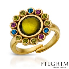 Simulated gems and crystals adorn this grown up flower cocktail ring. Size 6.5. Looks like it could be adjustable for comfort. Colors are olive, purple, and blue. Goldtone metal. From Pilgrim, Danish Design. Flower design is a little bit larger than a dime on your finger.
