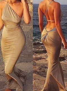 Oblique Shoulder Backless Slim Dress Evening Dresses, Sexy Dresses, Beautiful Dresses, Formal Gowns, Formal Wear, Asymmetrical Dress, Dress P, Couture Fashion, Romwe