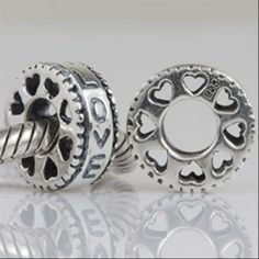 Love Heart Spacer Authentic 925 Sterling Silver Beads Love Fits Biagi Charms