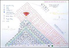 Crochet Shawl Mix it Up Shawl / Omslagdoeken / Haken Crochet Triangle Pattern, Crochet Shawl Diagram, Crochet Beanie Pattern, Crochet Cap, Crochet Scarves, Crochet Stitches, Crochet Patterns, Shawl Patterns, Crochet Projects