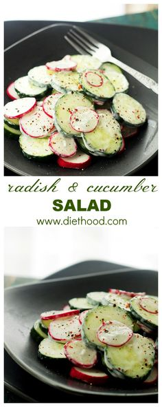 Radish and Cucumber Salad with Garlic-Yogurt Dressing | www.diethood.com | Deliciously crunchy slices of cucumbers and radishes tossed with a Garlic-Yogurt Dressing. | #salad #recipes