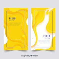 Poster template with fluid shapes Free V. Web Design, Creative Design, Banner Design Inspiration, Shape Posters, Fluid Design, Instagram Design, Social Media Design, Cover Design, Vintage Logos