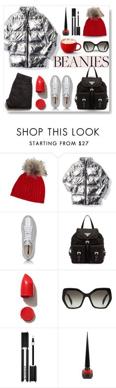 """""""Pompom WOW..."""" by desert-belle ❤ liked on Polyvore featuring Overland Sheepskin Co., Ivy Park, Prada Sport, Prada, Todd Snyder, NARS Cosmetics, Givenchy, Christian Louboutin, polyvoreeditorial and pompombeanies"""