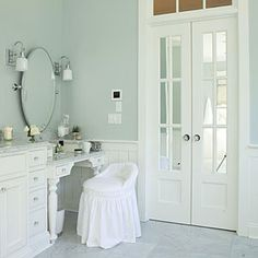 Get the look of French doors without losing privacy. Substitute mirrors for clear glass window panels.