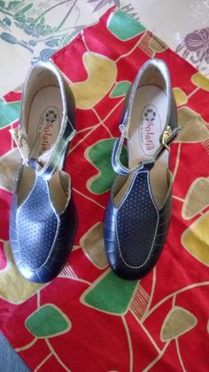 Favoloso scarpa 1950 s Blu Navy nuovo vecchio magazzino!