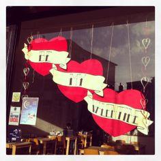 Paper Valentines Window Display at Creative Biscuit Ceramics Cafe. www.cremeanglaiselondon.wordpress.com